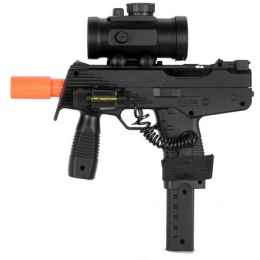 Double Eagle Airsoft Spring Uzi Pistol with Laser and Scope - BLACK