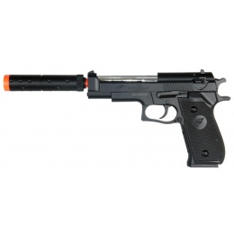 Double Eagle M22 Spring Airsoft Pistol w/ Mock Suppressor - BLACK