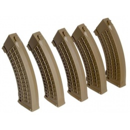 King Arms Airsoft  AK 110rd Thermal Midcap Magazine - TAN - 5 PACK