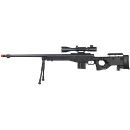 WellFire Airsoft L96 Bolt Action Rifle w/ Scope & Bipod - BLACK