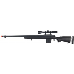 WellFire Airsoft M24 Bolt Action Tri Rail Rifle w/ Scope & Barrel - BLACK