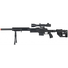 WellFire Airsoft M24 Bolt Action Tri Rail Rifle w/ Scope & Bipod - BLACK