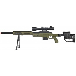 WellFire Airsoft M24 Bolt Action Tri Rail Rifle w/ Scope & Bipod - OD
