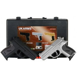 UK Arms Airsoft P618SB Spring Pistol Pack - BLACK/SILVER