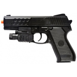 UK Arms Airsoft M888AF Spring Pistol w/ Flashlight & Laser - BLACK