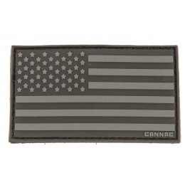 Cannae Logo Tactical PVC Flexible U.S. Flag Left Arm Patch - BLACK