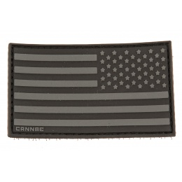 Cannae Logo Tactical PVC Rubber U.S. Flag Right Arm Patch - BLACK