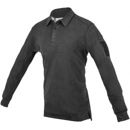 Cannae Professional Operator Long Sleeve Spandex Polo Shirt - BLACK - MED