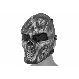 UK Arms Airsoft Full Face Villain Skull Mesh Mask - SILVER/BLACK