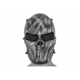 UK Arms Airsoft Full Face Villain Skull Mesh Mask - SILVER/BLACK