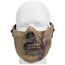 UK Arms Airsoft Half Face Zombie Skull Mask - ZOMBIE TAN