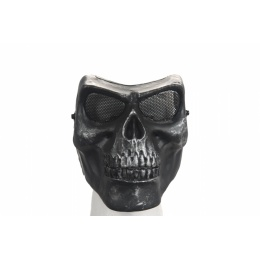 UK Arms Airsoft Mesh Skull Full Face Mask Gen 2 - SILVER/BLACK