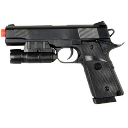 UK Arms Airsoft Spring Pistol w/ Laser and Light - BLACK