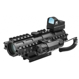 NcStar Tri Rail 2-7x32 P4 Sniper Scope w/ Green Laser - BLACK