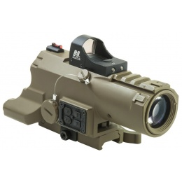 NcStar ECO 4x34 Micro Green Dot Scope w/ Laser & Navigation Pod - TAN