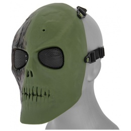 UK Arms Airsoft Scarred Skull Full Face Mesh Mask - NEW GREEN