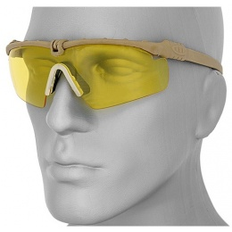 UK Arms Protective Shooting Glasses Tan Frame - YELLOW