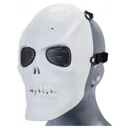 UK Arms Airsoft Mesh Scarred Skull Full Face Mask - WHITE