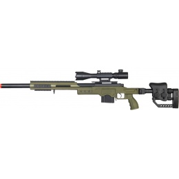 WELL Airsoft MB4410GA2 Bolt Rifle w/ Illuminated Scope - OD GREEN