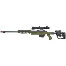 WELL Airsoft MB4411GA2 Bolt Rifle w/ Scope & Fluted Barrel - OD GREEN