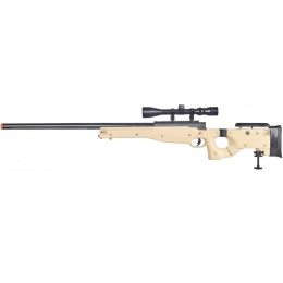 WELL Airsoft MB08TA AWP Bolt Rifle w/ Folding Stock & Scope - TAN