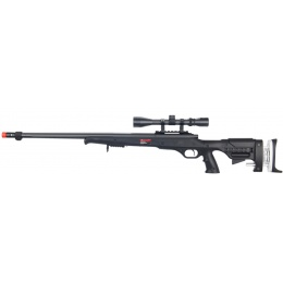 WELL Airsoft MB12BA Bolt Rifle w/ Fluted Barrel & Scope - BLACK
