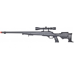 UK Arms Airsoft Bolt Action Rifle w/ Fluted Barrel and Scope - BLACK