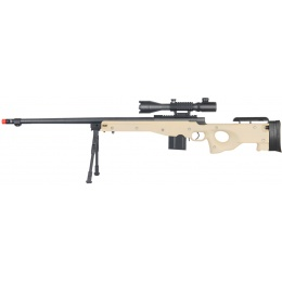 UK Arms Airsoft L96 Bolt Action Fluted Rifle w/ Bi-pod and Scope - TAN