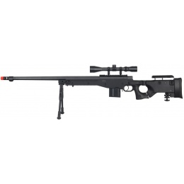 UK Arms Airsoft L96 Bolt Action Fluted Scope Rifle w/ Bipod - BLACK