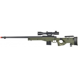 UK Arms Airsoft L96 Fluted Barrel Bolt Action Scope Rifle - OD GREEN