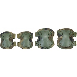 UK Arms Tactical Quick Release Knee and Elbow Pad Set - WOODLAND