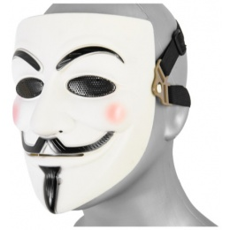 UK Arms Shock Resistant Guy Fawkes Full Face Mask - WHITE