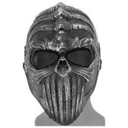 UK Arms Shock Resistant Vertabral Full Face Mask - SILVER/BLACK