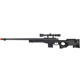 Well Airsoft MK96 Bolt Action Rifle w/ Fluted Barrel & Scope - BLACK