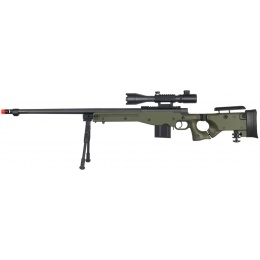Well Airsoft MK96 Bolt Action Rifle w/ Barrel, Scope & Bipod - GREEN