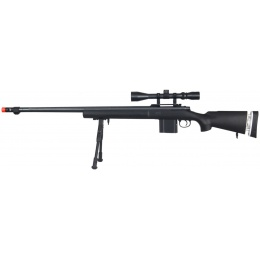 Well Airsoft MK96 Bolt Action Rifle w/ Barrel, Scope & Bipod - BLACK