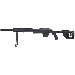 Well Airsoft M24 Bolt Action Rifle w/ Fiber Stock & Bipod - BLACK