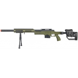 Well Airsoft M24 Bolt Action Rifle w/ Fiber Stock & Bipod - OD GREEN