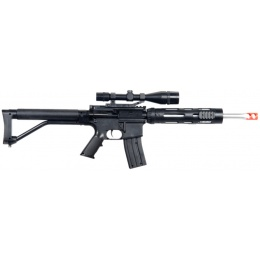 UK Arms Airsoft Spring Rifle w/ Attachments & Pistol Combo - BLACK