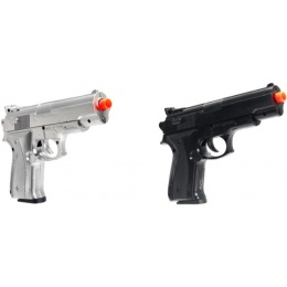 UK Arms Dual Wield Airsoft Spring Pistols Combo - BLACK/SILVER