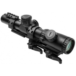 NcStar EVO 1.1-4 x 24mm Dot + MilDot Scope w/ SPR Mount - BLACK