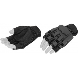 AMA Airsoft Tactical Armored Half Finger Glove Set (MEDIUM) - BLACK