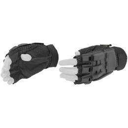 AMA Airsoft Tactical Armored Half Finger Glove Set (MEDIUM) - BLACK