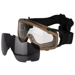 UK Arms Tactical Low Profile Ballistic Goggles w/ Fan - TAN