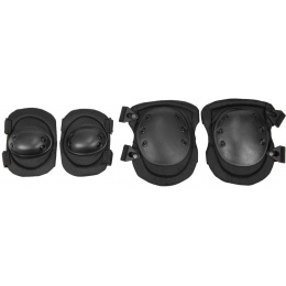 Lancer Tactical Airsoft Non-Slip Elbow & Knee Pad Set - BLACK