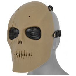 UK Arms Airsoft Mesh Scarred Skull Mask Version 2 - TAN