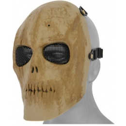 UK Arms Airsoft Mesh Dried Bone Skull Mask Version 2 - TAN