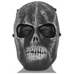 UK Arms Airsoft Scarred Skull Mask Version 2 - SILVER & BLACK