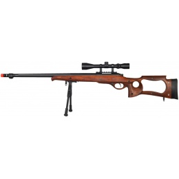 UK Arms Airsoft Bolt Action Scope Bipod Rifle w/ Fluted Barrel - WOOD
