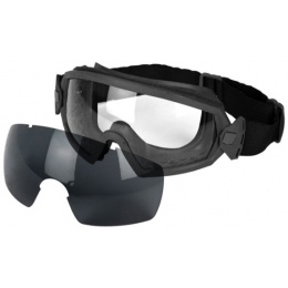 UK Arms Airsoft Tactical Clear/Smoke Lens Goggle Set - BLACK